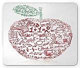 Yanteng Alfombrilla de ratón educativa, Apple con símbolos Escolares Fórmulas básicas Ejercicio Tema de la Escuela, Tamaño estándar Rectángulo Antideslizante Alfombrilla de Goma