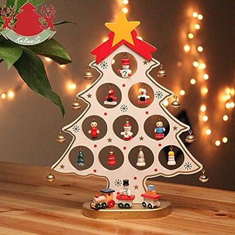 WINOMO DIY-Weihnachtsbaum mit Miniatur Holz Ornamente (weiß)