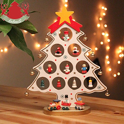 Decorazioni Natalizie Di Cartone.Vosarea Albero Di Natale In Legno Artificiale Decorativo Albero Di Natale Di Cartone Animato Decorazione Scrivania Da Tavolo Bianco