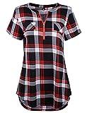 Odosalii Damen V-Ausschnitt Kariert Bluse 3/4 Ärmel Langarm Reißverschluss Tunika Longshirt Hemd Tops T-Shirt, M, B_rot Kariert_kurzarm