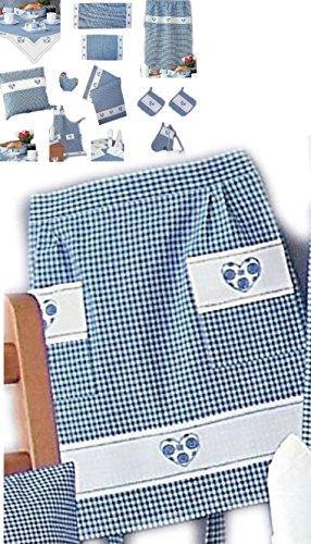 Halbschürze - blau - weiß kariert Stickerei - Herz - (Stickerei-weiß-bhs)