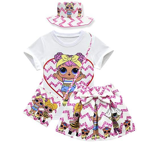 QYS Baby Cute Dolls Konfetti Pop Tshirt + Rock + Tasche für Mädchen Lil Outrageous Little Girl Dress,Suit,120cm -