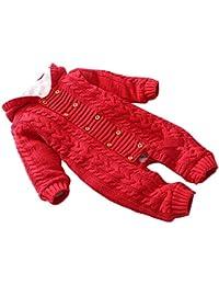 Free Fisher Baby Jungen/Mädchen Strick-Overall Jumpsuit Strampler Einteiler mit unabnehmbarer Kapuze