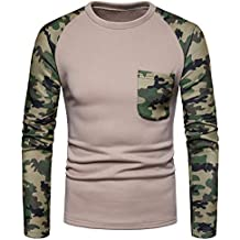 BBestseller Primavera Camuflaje Slim Fit Camisas Hombre Camisetas de Manga Larga Sweatshirt Jerseys Blusa de Deportivo