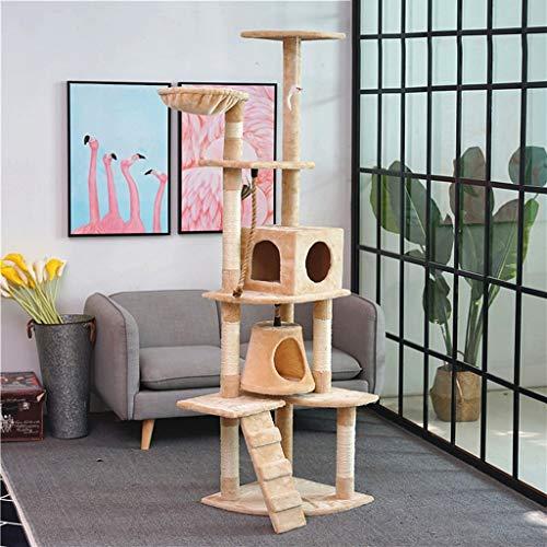 Better Katzenbaum, Sisal Large Cat Klettergerüst mit Katzenhaus und Aussichtsplattform Cat Tower Activity Center SL-030 (Farbe : Gelb, größe : 40cm*70cm*190cm)