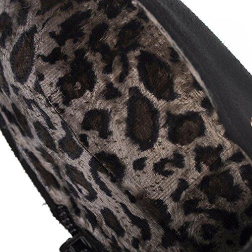 cheville Mignon Toe de Round Zipper cuir Nubuck Femmes Heels Noir Femmes Block Bottes ENMAYER en Rhinestones q4f46
