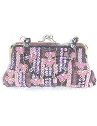 Abendtasche Partybag mit Pailletten und Perlen schwarz bunt 24x13x3cm