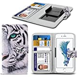 Spyrox - Tp-Link Neffos Y5L Case PU Leather White Tiger Printed Design Pattern Wallet Clamp Style Spring Skin Cover