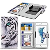 ( White Tiger ) PRINTED DESIGN case for Argos Alba 5 Inch case cover pouch High Quality Thin Faux Leather Holdit Spring Clamp Clip on Adjustable Book by i-Tronixs