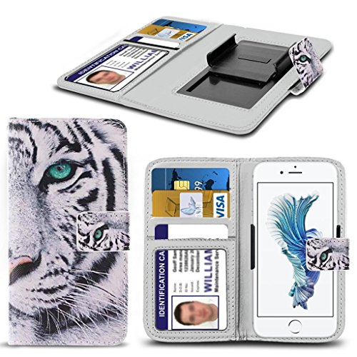 Kazam Tornado 350 HŸlleBrieftaschen-Etui Pouch PU Leather [White Tiger] PRINTED DESIGN HŸlleDesign Spring Clamp [Clip on] Adjustable Book Style Flip Skin HandyhŸlle by i-Tronixs¬
