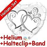Carpeta Folienballon * Zwei Silberne Herzen * + Helium FÜLLUNG + Halte Clip + Band * für die Hochzeit // Folien Ballon Deko Ballongas Geburtstag Hochzeitstag Geschenk Liebe Marriage Valentin