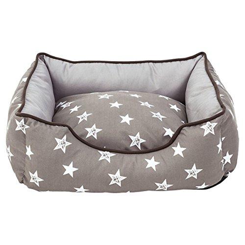 miaVILLA Hundebett - Sterne - Anthrazit/Grau - Bezug waschbar - Größe L - Größe L
