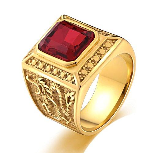 SonMo Stainless Steel Herren Ringe Herrenring Drache Siegelring Herren Gold Rot Signet Ring Band Ring Daumenring für Mann