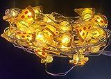 ERGEOB Silberdraht LED Lichterkette Pizza Form – Weihnachten Dekorative Leuchten 50er LED 5m Batteriebetrieb
