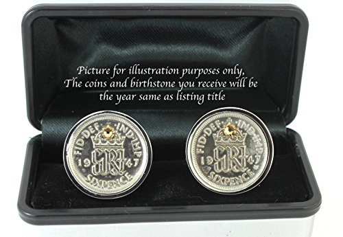 Price comparison product image Year 1937 Lucky Sixpence Cufflinks with Swarovski Birthstone - Birthday Cufflinks (September - sapphire)