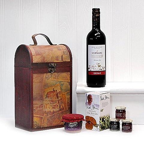The Clarendon Vintage Wooden Wine Chest Gift Hamper avec 750ml Versare Shiraz Red Wine - Idée cadeau parfaite pour les anniversaires, les anniversaires et les cadeaux d'entreprise
