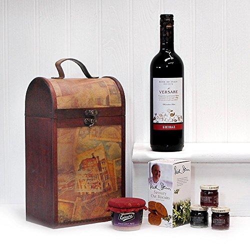 Die Clarendon Vintage hölzernen Wein Truhe Geschenk Hamper mit 750ml Versare Shiraz Red Wine - Perfekte Geschenkidee für Geburtstage, Jubiläen und Corporate Geschenke