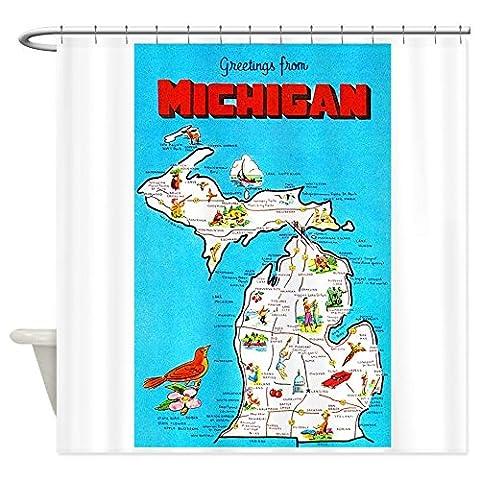 Michigan Karte Greetings–Dekostoff Vorhang für die Dusche
