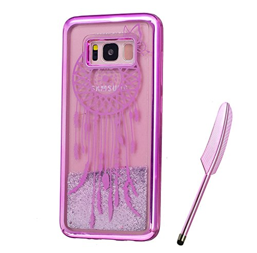 Galaxy S8 Plus Case, Purple Plating Design, Edaroo 3d Cool Flowing Liquid Bling Sparkle Glitter StyleBeautiful Butterfly Dreamcatcher Pattern Slim Thin Fits Soft Rubber TPU Bumper Protective Case Cover for Samsung Galaxy S8 Plus