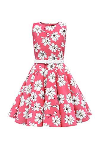 BlackButterfly Kinder \'Audrey\' Vintage Daisy Kleid im 50er-Jahre-Stil (Rosa, 5-6 J / 110-116)
