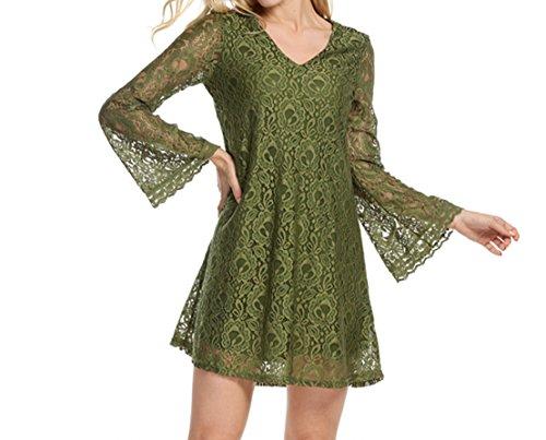 Damen Summer Sexy VAusschnitt Volants Spleißen Elegant Midikleid Langarm  Spitze Kleid zweiteilig Blusenkleider Grün