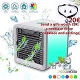 Nšilko climatizador Aire Acondicionado portatil silencioso Aire, Evaporativo Ventilado Mini Móvil Enfriador USB 3-en-1 Portátil Aire Acondicionado [Sin Freón & Respetuoso del Medio Ambiente] (Blanco)