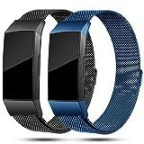 Onedream Compatible avec Bracelet Fitbit Charge 3,Charge3 Bracelet Femme Homme Strap Acier Inoxydable Metal Remplacement Band Bleu Noir (Pas de Tracker),S