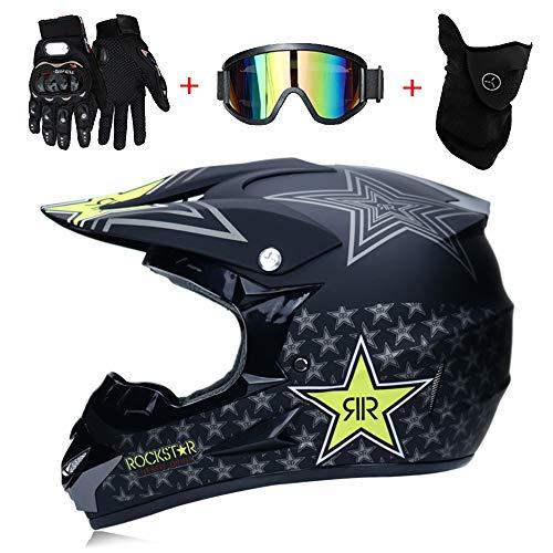 LTongx Adult Motocross Helm MX Motorradhelm-Roller ATV Helm Straßenrennen D.O.T Zertifiziert Pink mit Handschuhen Windproof Maske Goggle-4-tei-Stück,L(56~57cm)