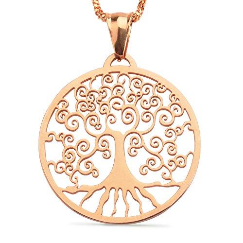 XIUDA Die Welt Baum Halskette Rose Gold überzogen für Frauen und Männer (Welt-anhänger-halskette)