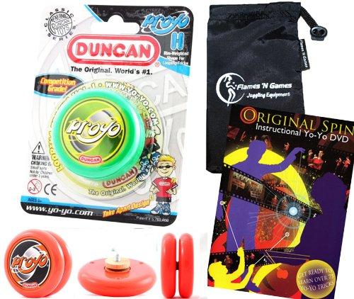Duncan ProYo YoYo (Grun) Ideal Yo Yo für Anfänger + 75 Yo-Yo Tricks DVD in Englisch + Stoff Reisetasche! Große YoYo für Kinder und Erwachsene! (Yo Proyo Duncan Yo)