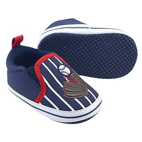MiyaSudy Baby Mädchen Jungen Baseball Pattern Weiche Sohle Casual Schuhe Lauflernschuhe Erste Wanderer 0-18 Monate Dunkelblau