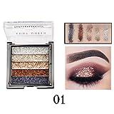 Cooljun Palette de maquillage pour les yeux Glitter Makeup, 5 paillettes brillant Glitter Visage Palette de maquillage hautement pigmentée Nail Art Make Up Body Glitter (A)