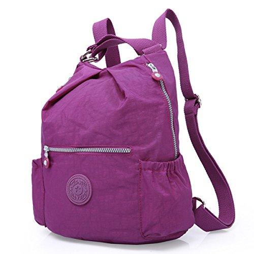 GSHGA Damen Taschen Rucksack Lässige Atmungsaktive Wasserdichte Mode,Purple Fuchsia