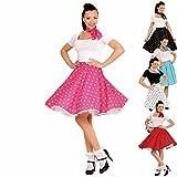 Swing Rock mit Halstuch 50er Tellerrock pink-weiß gepunktetes Rockabilly Outfit Rock'n'Roll Petticoat mit Polka Dots Faschingskostüm