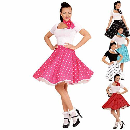 Swing Rock mit Halstuch 50er Tellerrock pink-weiß gepunktetes Rockabilly Outfit Rock'n'Roll Petticoat mit Polka Dots - Rock Und Roll Kostüm Frauen