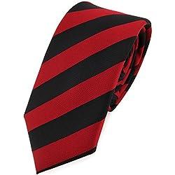 TigerTie - corbata estrecha - púrpura rojo carmín negro rayas -