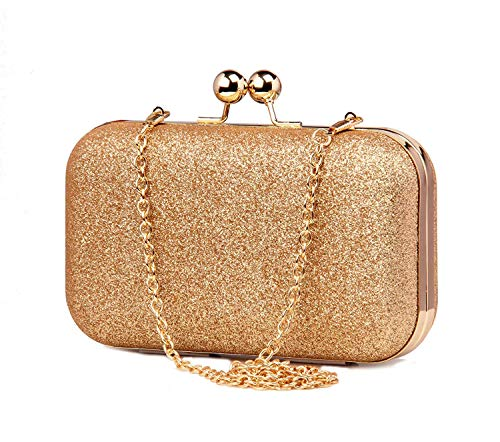 Tooba Handicraft Party Wear Beautiful Bling Box Clutch Bag Purse For Bridal, Casual, Party, Wedding (Gold)