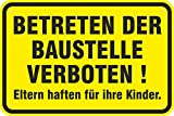 Schild Betreten der Baustelle Verboten aus Aluminium-Verbundmaterial 3mm Stark 20 x 30 cm