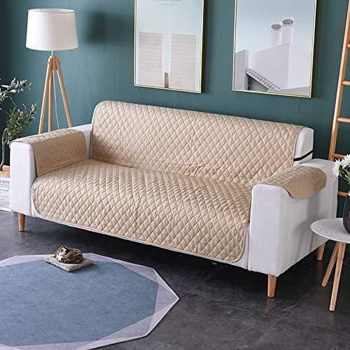 Comfot La Ligne kariert Tier-Sofa Bezug Sessel Möbel Schutz Slipcovers mit Rücken für Hunde Katzen und Kinder 1, 2, 3-Sitzer, beige, 2seater -