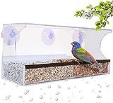 Graybunny Gb-6851Deluxe fenêtre transparente pour oiseaux, grande Mangeoire à oiseaux, avec trous de drainage, plateau amovible, Super Strong ventouses