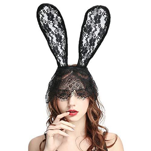 MAKFORT Schleier Schwarz Spitze Maskerade Maske Kaninchen Ohr Stirnband für Nachtclubs Maskerade Halloween Karneval Party