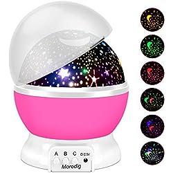Proyector Lámpara Estrellas, Romántica lámpara con luz de Noche y 8 Modos, Regalo Para Niños y Bebés Cumpleaños, Día de los Reyes, Navidad, Halloween etc - Rosa
