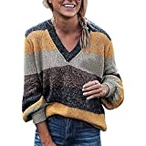 Preferential New Ieason Womens Long Sleeve T-Shirt Plus Size Tops V-Neck Stripe Knitting Sweater Blouse