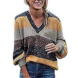 FRAUIT Plus Size Regenbogen Streifen Strickpullove Damen Langarm T-Shirt Winter/Herbst Pullover Pullover Rundhals Kurzen Strick Hot