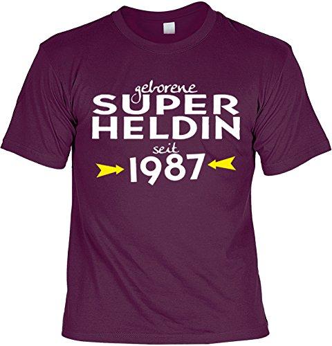T-Shirt zum Geburtstag: Geborene Super Heldin seit 1987 - Tolle Geschenkidee - Baujahr 1987 - Farbe: bordeauxrot Bordeauxrot