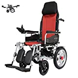 Reclinable Backrest and Adjustable Headrest. Foldable Power Electric Wheelchair with Polymer Li-Ion Battery (Right Side Controller)
