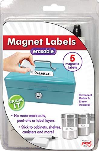 JOKARI Label Einmal radierbar Etiketten Starter Kit mit 5Etiketten, Radierer und Stift, magnetisch