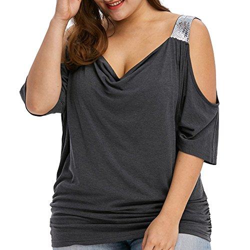 iBaste Femme Chemise T-shirt à Lèvres Sans Taille Noir