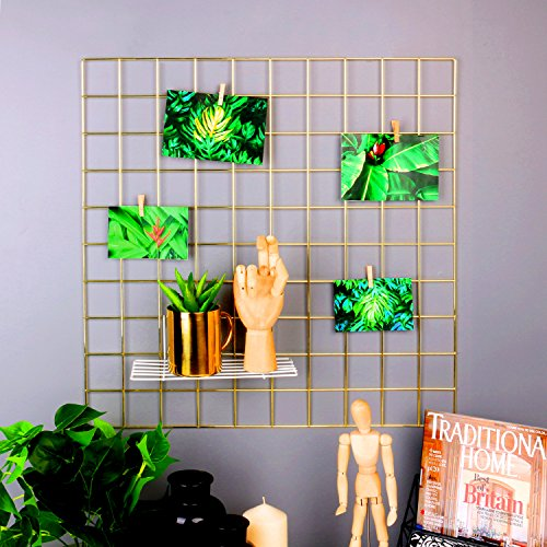 Draht Mesh Regale (rumcent Metall Mesh Wall Grid Panel, Metall Decor Regalen, Raum Dekoration, Foto/Art Display & organizer-gold, metall, 23.6