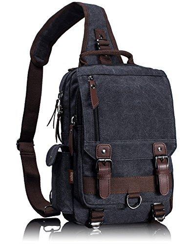 Leaper Canvas Crossbody Bag Sling Bag Bauchtasche Unisex Umhängetasche Outdoor (S, Schwarz)